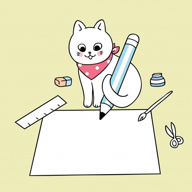 cute cat cartoon writing on paper